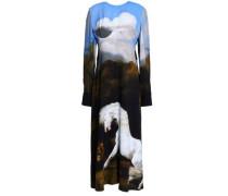 Printed Stretch-crepe Midi Dress Black