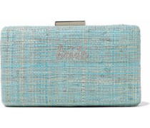 Embroidered metallic straw clutch
