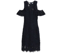 Cold-shoulder Ruffle-trimmed Corded Lace Dress Navy