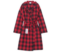 Oversized Hooded Checked Cotton-flannel Jacket Black