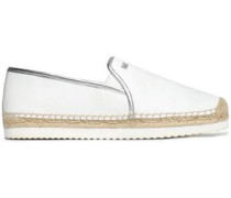Metallic-trimmed leather espadrilles