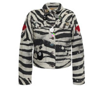 Embellished Coated Zebra-print Denim Mini Jacket Black