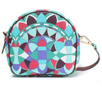 Printed Faux Textured-leather Shoulder Bag Jade Size --