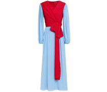 Kiki King Wave Wrap-effect Two-tone Crepe Maxi Dress Sky Blue