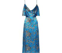 Open-back Draped Printed Silk-satin Midi Dress Blue