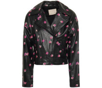 Floriana Floral-print Leather Biker Jacket Black