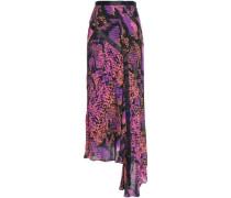 Asymmetric Grosgrain-trimmed Snake-print Gauze Midi Skirt Violet
