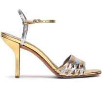 Federica Two-tone Metallic Leather Sandals Gold