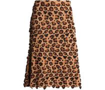 Appliquéd embroidered crepe skirt