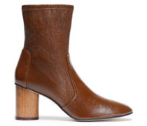 Smooth And Cracked-leather Ankle Boots Brown