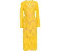 Draped Poplin-paneled Modal And Cotton-blend Top Yellow