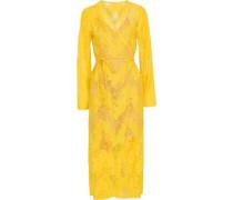 Cotton-blend Chantilly Lace Midi Wrap Dress Yellow