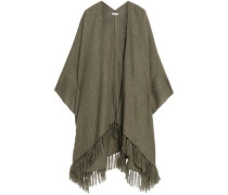 Fringe-trimmed metallic knitted poncho