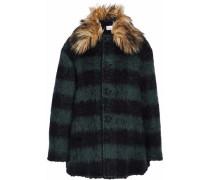 Faux Fur-trimmed Striped Brushed-felt Coat Charcoal