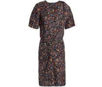 Twisted Printed Silk Dress Charcoal