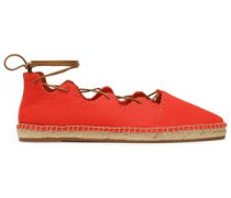 Embroidered lace-up canvas espadrilles