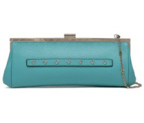 Studded Textured-leather Clutch Turquoise Size --
