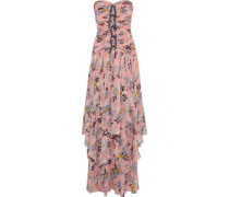 Emira Strapless Ruched Floral-print Silk-georgette Gown Baby Pink Size 00