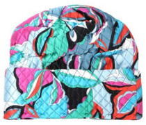 Woman Printed Quilted Silk-blend Satin Beanie Magenta