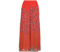 Embroidered crochet-knit wide-leg pants