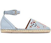 Broderie anglaise leather espadrilles