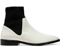 Perlow Ribbed Knit And Patent-leather Ankle Boots Cream