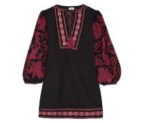 Salma Embroidered Cotton Mini Dress Burgundy