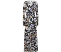 Printed Silk-satin Maxi Wrap Dress Black Size 0