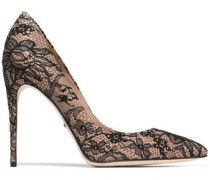 Chantilly Lace And Leather Pumps Blush