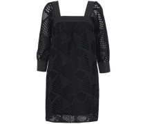 Bow-embellished broderie anglaise cotton mini dress