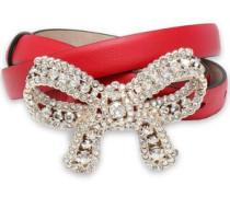Crystal-embellished leather belt