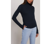Ribbed-knit Turtleneck Sweater Midnight Blue