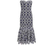 Strapless Fluted Guipure Lace Midi Dress Gray