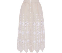 Carolyn Broderie Anglaise Cotton Midi Skirt Neutral