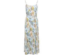 Pleated Floral-print Crepe Midi Dress Sky Blue