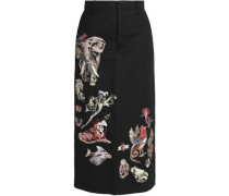 Embroidered cotton-twill midi skirt