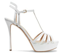 Ines Cutout Patent-leather Platform Sandals White