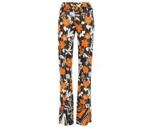 Woman Floral-print Jersey Straight-leg Pants Black