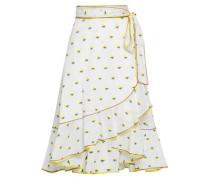 Ruffled Satin-trimmed Fil Coupé Cotton Wrap Skirt White