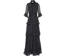 Pussy-bow tiered polka-dot silk-chiffon gown