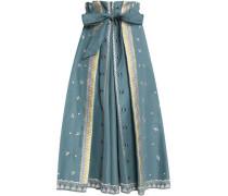 Poppy Field embroidered cotton-faille midi skirt