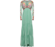 Tiered Silk-blend Chiffon And Embroidered Tulle Maxi Dress Mint Size 12