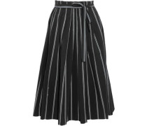Striped stretch-cotton skirt