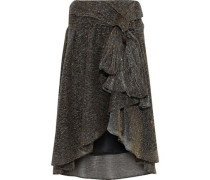 Knotted Metallic Stretch-knit Skirt Bronze