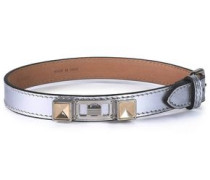 Metallic leather, silver and gold-tone bracelet