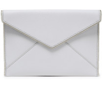 Woman Zip-embellished Textured-leather Clutch Light Gray