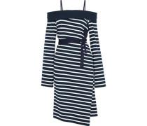 Cold-shoulder striped cotton-jersey wrap dress