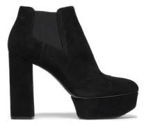 Suede Platform Ankle Boots Black