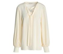 Lace-up silk crepe de chine blouse