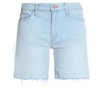 Frayed faded denim shorts